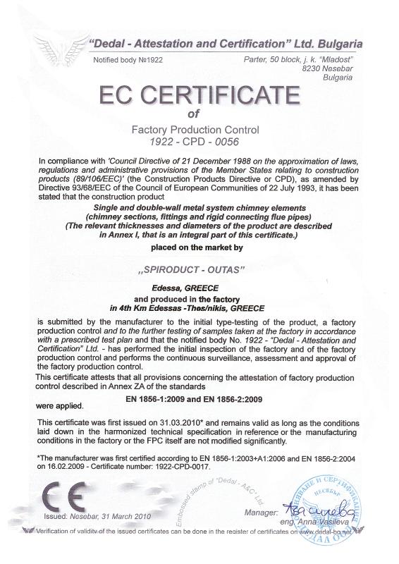 Ec Certificate Spiroduct
